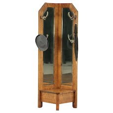 Arts & Crafts Mission Oak Antique Craftsman Corner Hall Stand & Mirror #29766