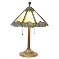 Lamp with Antique Stained Glass & Filigree Shade, Glass Marble Finial #29771