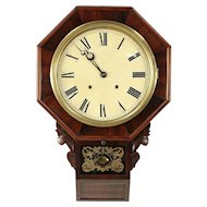 Victorian Antique Walnut Wall Clock, Hour Strike, Signed Welch #29782