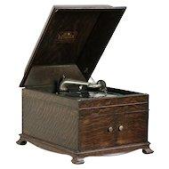 Victor Oak Tabletop Antique VV-IX Victrola Phonograph & Records #29792