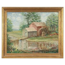 Old Mill in Blue Ridge Mountains, Original Oil Painting, T.K. Ahrens 1965 #29795