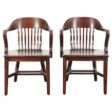 Pair of Quarter Sawn Oak 1915 Antique Banker, Desk or Office Chairs #29800