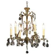 Crystal & Dark Brass 6 Candle Antique Vine Design Chandelier #29807