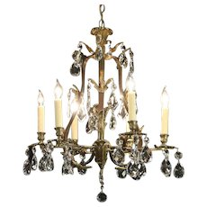 Crystal & Dark Brass 6 Candle Antique Vine Design Chandelier #29807