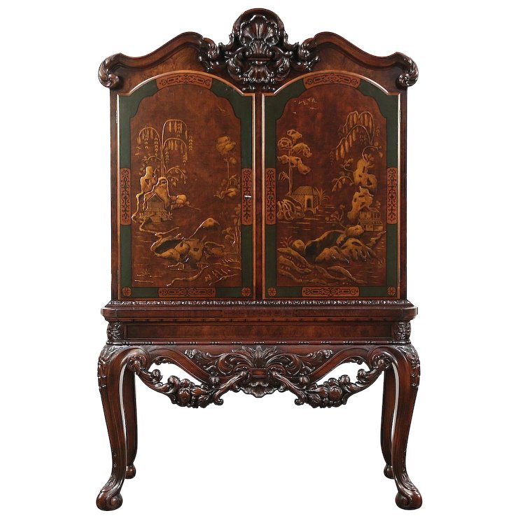 Renaissance Antique Bar, China or Hall Cabinet, Chinese Painting : Harp  Gallery Antique Furniture | Ruby Lane - Renaissance Antique Bar, China Or Hall Cabinet, Chinese Painting