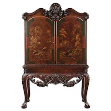 Renaissance Antique Bar, China or Hall Cabinet, Chinese Painting #29814