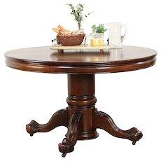 """Oak Round 48"""" Antique Dining Table, Eagle Talon Pedestal, Extends 10' #29820"""