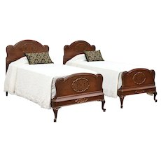 Pair Twin or Single 1930's Vintage Beds, Walnut, Burl & Hand Painting #29823