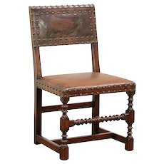 Oak Antique English Dining or Desk Chair, Leather, Waring & Gillows #29828