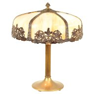 Fluted Base Antique Lamp, Curved Stained Glass 6 Panel Shade #29839