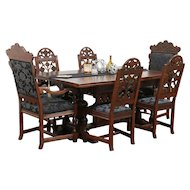 English Tudor Oak Dining Set, Table & Leaves, 6 Chairs, New Upholstery #29841