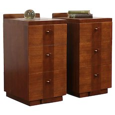 Pair of Midcentury Modern 1950's Vintage Nightstands, Walnut & Mahaogany #29842