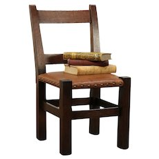 Arts & Crafts Mission Oak Antique Craftsman Child Chair, New Leather #29844