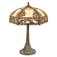 Hand Painted Antique Lamp, Stained Glass Shade Birds & Bridges #29850