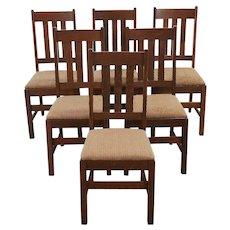 Set of 6 Arts & Crafts Mission Oak Antique Craftsman Dining Chairs #29856