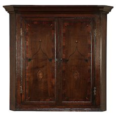 English Georgian 1760 Antique Inlaid Hanging Corner Cabinet or Cupboard #29859
