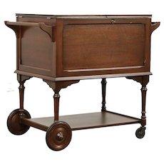 Rolling Bar Beverage Cart, 1940's Vintage Walnut, Locking Lid #29861