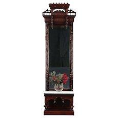 Victorian Eastlake Antique Walnut Hall or Pier Mirror, Marble Shelf #29876