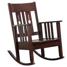 Arts & Crafts Mission Oak Antique Rocker Craftsman Rocking Chair #29893
