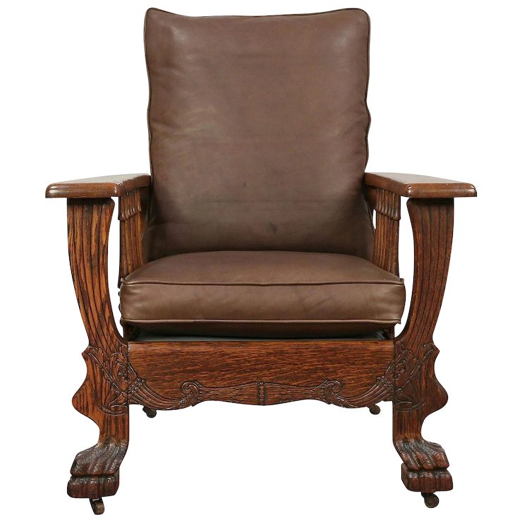Oak Antique 1900 Morris Recliner Chair, Lion Paws, Leather Cushions : Harp  Gallery Antique Furniture | Ruby Lane - Oak Antique 1900 Morris Recliner Chair, Lion Paws, Leather Cushions