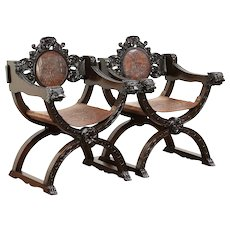 Pair Antique Italian Savonarola Chairs, Tooled Leather Crests, Lion Heads #29911