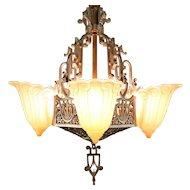 Art Deco Vintage Lincoln Chandelier 5 Light Fixture, Fleur de Lis Shades #29919