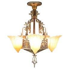 Art Deco Vintage Lincoln Chandelier 5 Light Fixture, Fleur de Lis Shades #29922