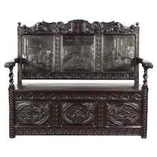 Victorian Carved Antique Oak Bench, Griffins & Scenes of Chester, England #29923