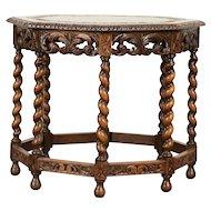 English Tudor Octagonal Antique Oak Coffee or Chairside Table #29928