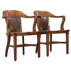 Pair of Oak Antique Banker, Library or Office Chairs, Signed Marble, Ohio #29929
