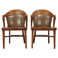 Pair of Oak Antique Banker, Library or Office Chairs, Tan Leather Backs #29934