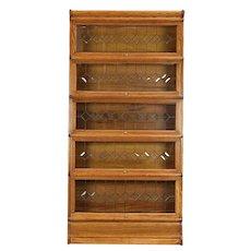 Lawyer Antique Oak 5 Stack Bookcase, Leaded Beveled Glass Door, Wernicke #29949