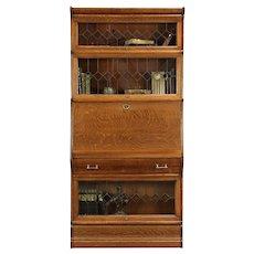 Lawyer Antique Oak Stacking Bookcase & Desk, Leaded Beveled Glass #29950