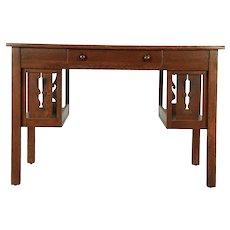 Arts & Crafts Mission Oak Library Table Craftsman Desk, Bookshelves #29953