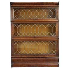 Oak Antique 3 Stack Lawyer Bookcase, Leaded Glass Doors, Macey #29958
