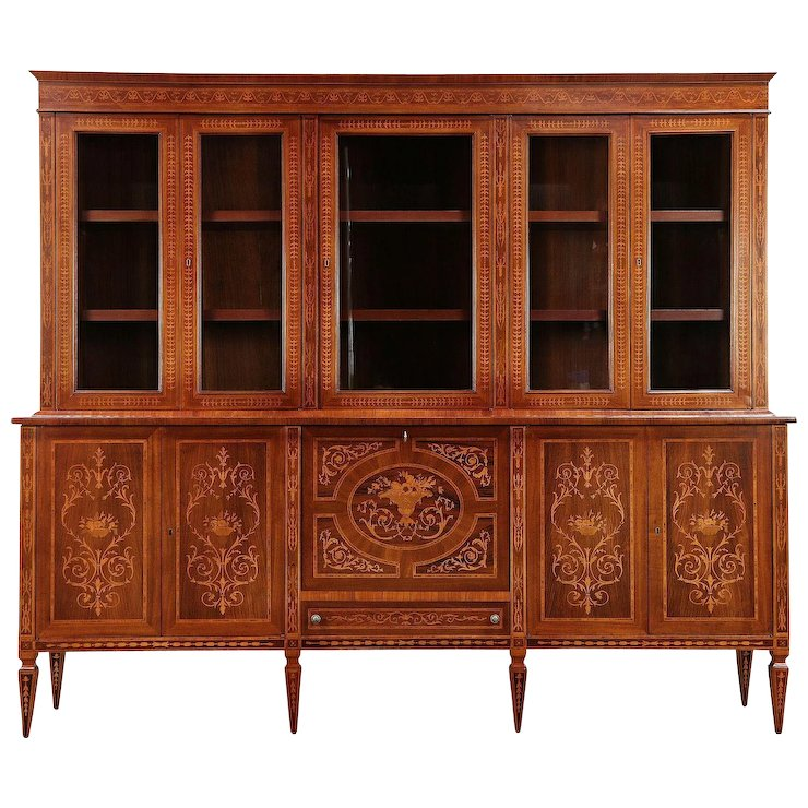 Italian Rosewood Marquetry Vintage Library Bookcase, Lighted Bar Cabinet  #29961 - Italian Rosewood Marquetry Vintage Library Bookcase, Lighted Bar Cabinet  #29961