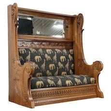 Art Nouveau Antique Giant Carved Oak Belgian Hall Bench & Mirror #29962