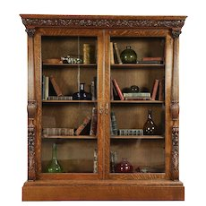 Oak Carved Antique 1895 Library Bookcase, Columns, Wavy Glass Doors #29963