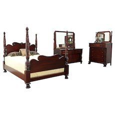 Empire Antique Acanthus Carved Mahogany Queen Size 3 Pc Bedroom Set #29965