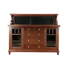 Oak Antique 1900 Sideboard, Server, or Buffet, Gallery & Mirror, Chicago #29968