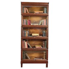 Oak 1900 Antique 5 Stack Lawyer Bookcase, Signed Macey & Weis #29976