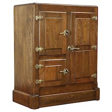 Oak Antique 1900 Kitchen Pantry Ice Box Refrigerator Cabinet #29977