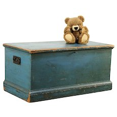 Country Pine Antique Blanket Chest or Trunk or Coffee Table, Blue Paint #29983