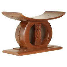 African Vintage Carved Mahogany Stool or Seat, Ashanti of Ghana #29985