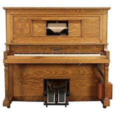 Oak Craftsman Antique Player Piano, Bench, Rolls, Smith & Barnes, Chicago #29992
