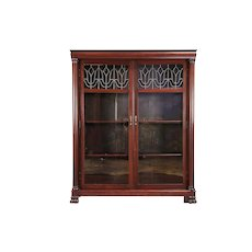 Mahogany Antique Library Bookcase, Leaded Beveled Glass Doors #29997