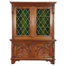 Dutch Antique Oak Bookcase or China Cabinet, Leaded Glass, Carved Figures #30003