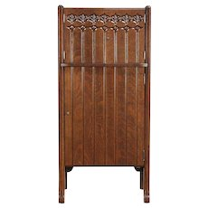 Oak Craftsman Carved Antique 1900 Bar Cabinet, Copper Shelf #30012