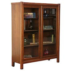 Arts & Crafts Mission Oak Antique Craftsman Bookcase, Sliding Glass Doors #30015