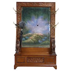 Oak Antique Hall Bench, Beveled Mirror, Carved Griffins, Brass Hooks #30018